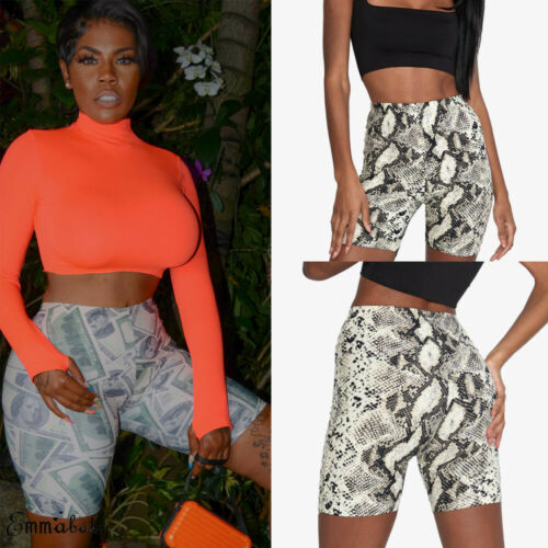 Stylish Women's Serpentine Print High-waist Bustier Slim Fit Shorts Lady Summer Casual Cycle Gym Fitness Stretch Shorts S-XL