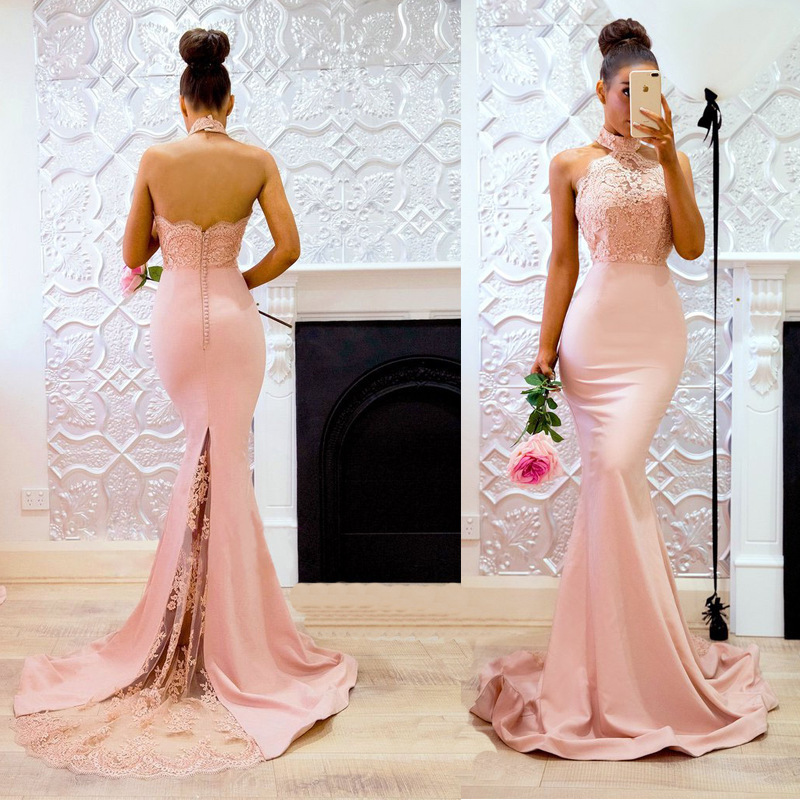 Sexy Self-cultivation Back Slit Evening Dress Lace Halter Court Train Prom Gowns Superior Taffeta Evening Gown Vestido De Festa