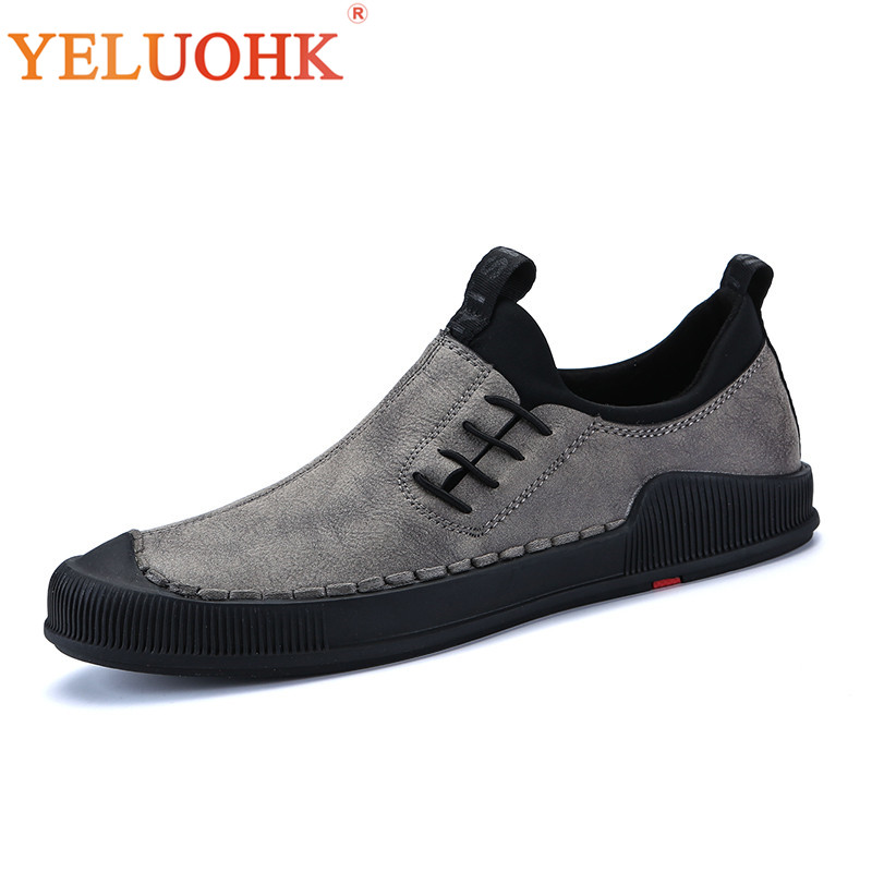 Handmade Men Sneakers Slip On Breathable Men Shoes Casual High Quality Men Leather Shoes glowing sneakers usb charging shoes lights up colorful led kids luminous sneakers glowing sneakers black led shoes for boys