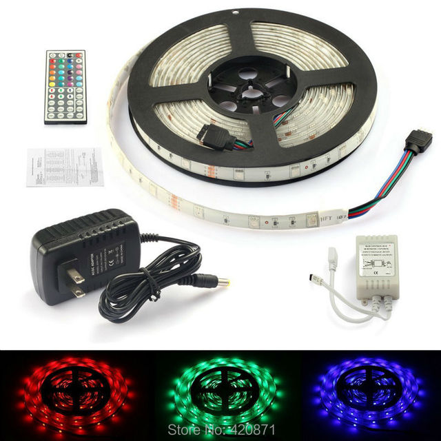 Rgb led strip light kits smd3528 tape 300leds 5m plus 12v power rgb led strip light kits smd3528 tape 300leds 5m plus 12v power adapter and controller with aloadofball Gallery