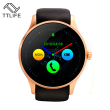 TTLIFE Brand Round Metal font b Smartwatch b font With SIM Card Heart Rate Monitor Montre