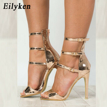 Eilyken Gold Black Sexy Women Sandals High Heels Zip Gladiator Sandals