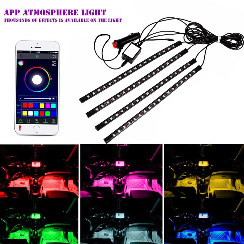 Car Styling RGB 18 LEDs Neon Interior Light Lamp Strip Decorative APP Atmosphere Remote Control Lights CSL2017 zdm 5m 300 leds strip light with remote control