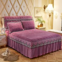 Queen King size 3Pcs Bed Cover set with Pillowcase Warm Soft Flannel Fleece Quilted Bedspread set Ruffled Lace Bed skirt set(China)