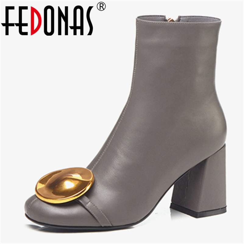 FEDONAS New Brand Women Genuine Leather Ankle Boots Fashion Metal Decoration Autumn Winter Party Prom Shoes
