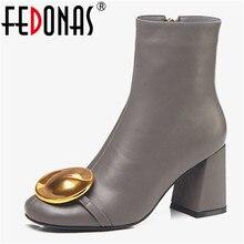 FEDONAS جديد ماركة النساء جلد طبيعي حذاء من الجلد موضة المعادن الديكور الخريف الشتاء حفلة موسيقية أحذية امرأة مكتب مضخات