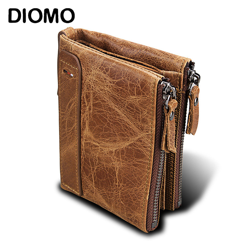 DIOMO Genuine Leather RFID Wallet for Men   RFID Anti Theft Card Holder Purse Double Zipper Small Short Wallet with Coin Pocket
