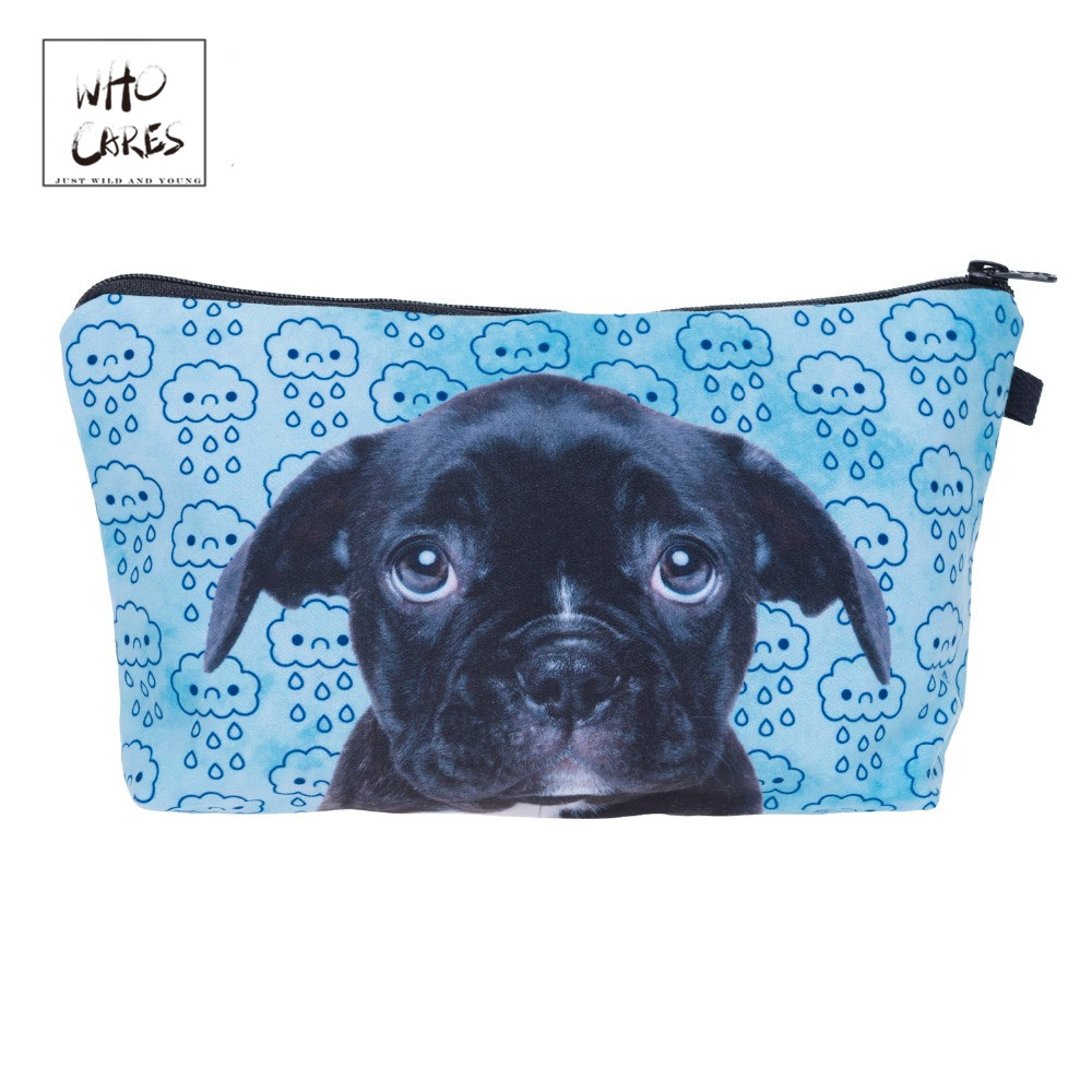 Who Cares Cloudy Sad Puppy 3D Printing Makeup Bags Cosmetics Pouchs For Travel Ladies Pouch Women Cosmetic Bag