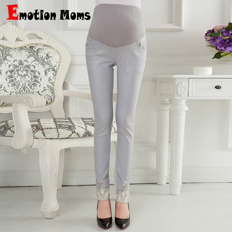 Emotion Moms Style Maternity Pants Skinny pregnancy Pants cotton Maternity trousers For Pregnant Women Pregnancy Capris stripe side skinny pants