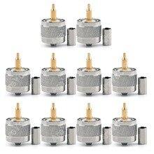 Areyourshop горячая распродажа 10 шт. разъем UHF штекер PL259 зажим RG58 RG142 LMR195 RG400 кабель прямой латунный позолоченный