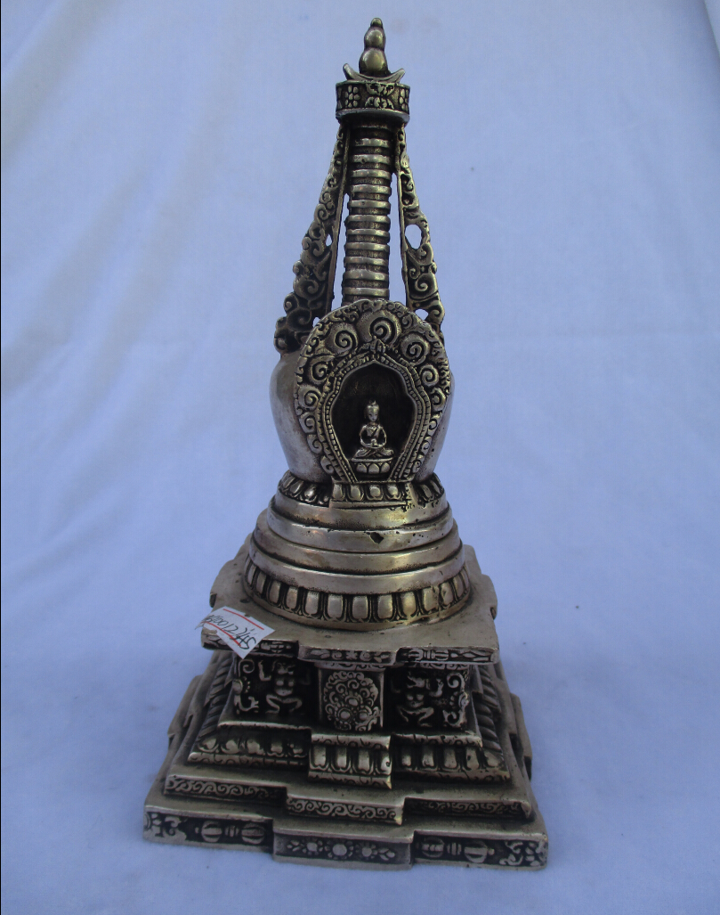 Rare old antique tibet silver carved stupa incense burner /metal censer free shipping 00025