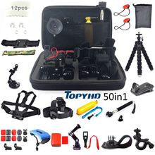 50in1 או 30in1 ראש חזה הר צף חדרגל אביזרי עבור GoPro Hero 3 4 5 EKEN H9 H9R XIAOMI יי SJ4000 מצלמה