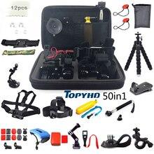50in1 или 30in1 голова грудь крепление с плавающей монопод Аксессуары для GoPro Hero 3 4 5 eken H9 H9R Xiaomi Yi SJ4000 Камера