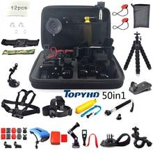 50in1 of 30in1 Hoofd Borst Mount Drijvende Monopod Accessoires Voor GoPro Hero 3 4 5 EKEN H9 H9R XIAOMI YI SJ4000 Camera