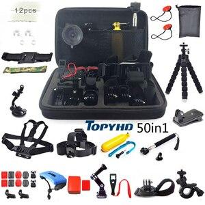Image 1 - 50in1 of 30in1 Hoofd Borst Mount Drijvende Monopod Accessoires Voor GoPro Hero 3 4 5 EKEN H9 H9R XIAOMI YI SJ4000 Camera