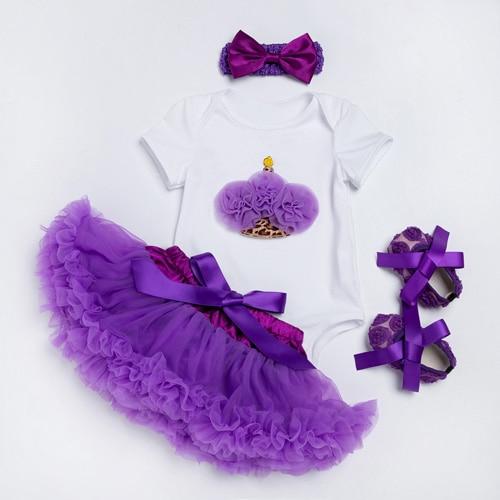 Girls Tutu Skirts Purple Baby Short Romper Infant Clothing Sets Dance Skirt Lace Pettiskirt Children Clothes & shoes F5029