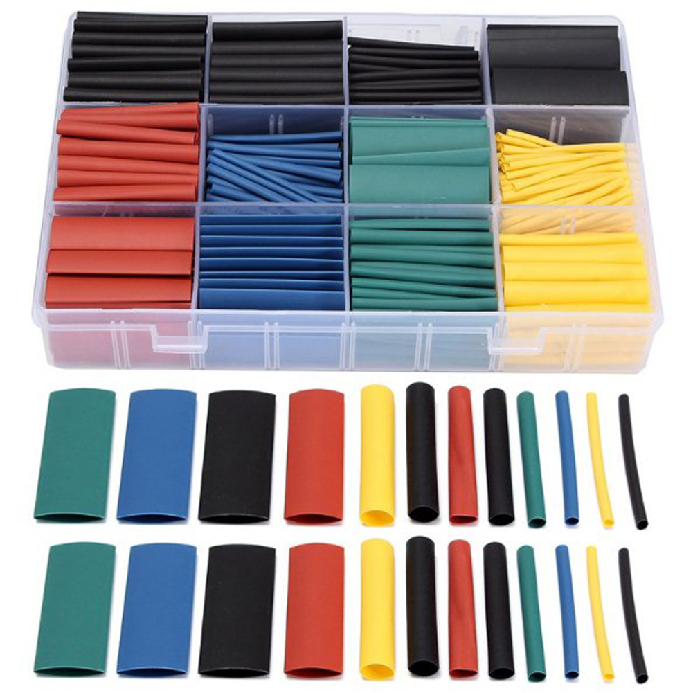 530Pcs Heat Shrink Tubing Insulation Shrinkable Tube Assortment Electronic Polyolefin Ratio 2:1 Wrap Wire Cable Terminal 55m pack insulation polyolefin ratio 2 1 heat shrink tubing 11 sizes 6 colour shrinkable tube sleeving set