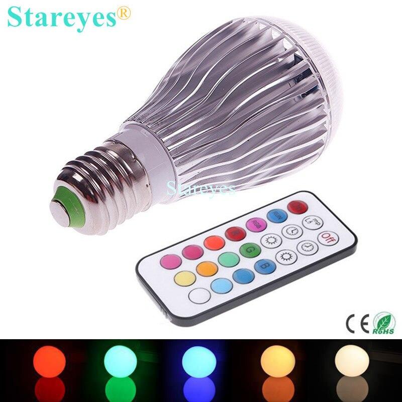 1 Piece RGB led lighting Colorful 9W E27 B22 GU10 RGB LED lamp globe bulb light Wireless 24 key Remote Controller