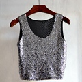 Fashion Women Cropped Sequin Crop Top Summer Sleeveless O-neck Camisole Tops