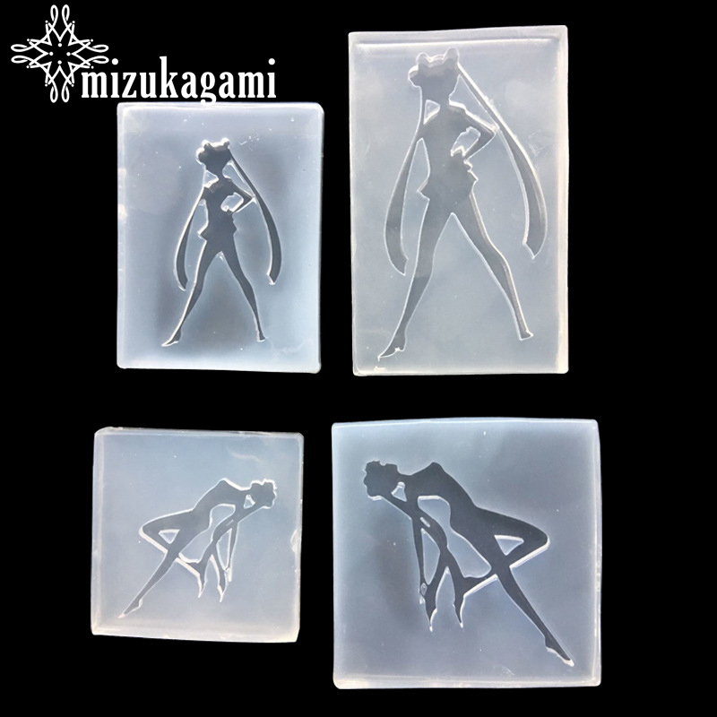 1pcs UV Resin Jewelry Liquid Silicone Mold Cartoon Girl Sailor Moon Resin Molds For DIY Intersperse Decorate Making Molds