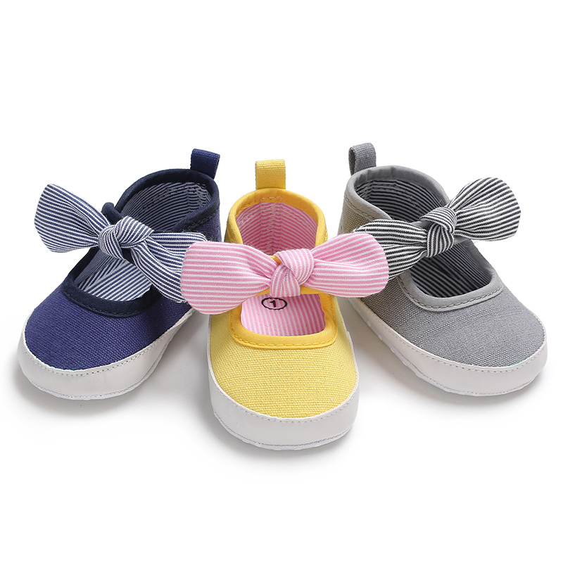 New Toddler Infant Baby Girl Striped Shoes Crib BIg Bow Comfortable Shoes Size Newborn 0-18 Months Bebe Sapatos
