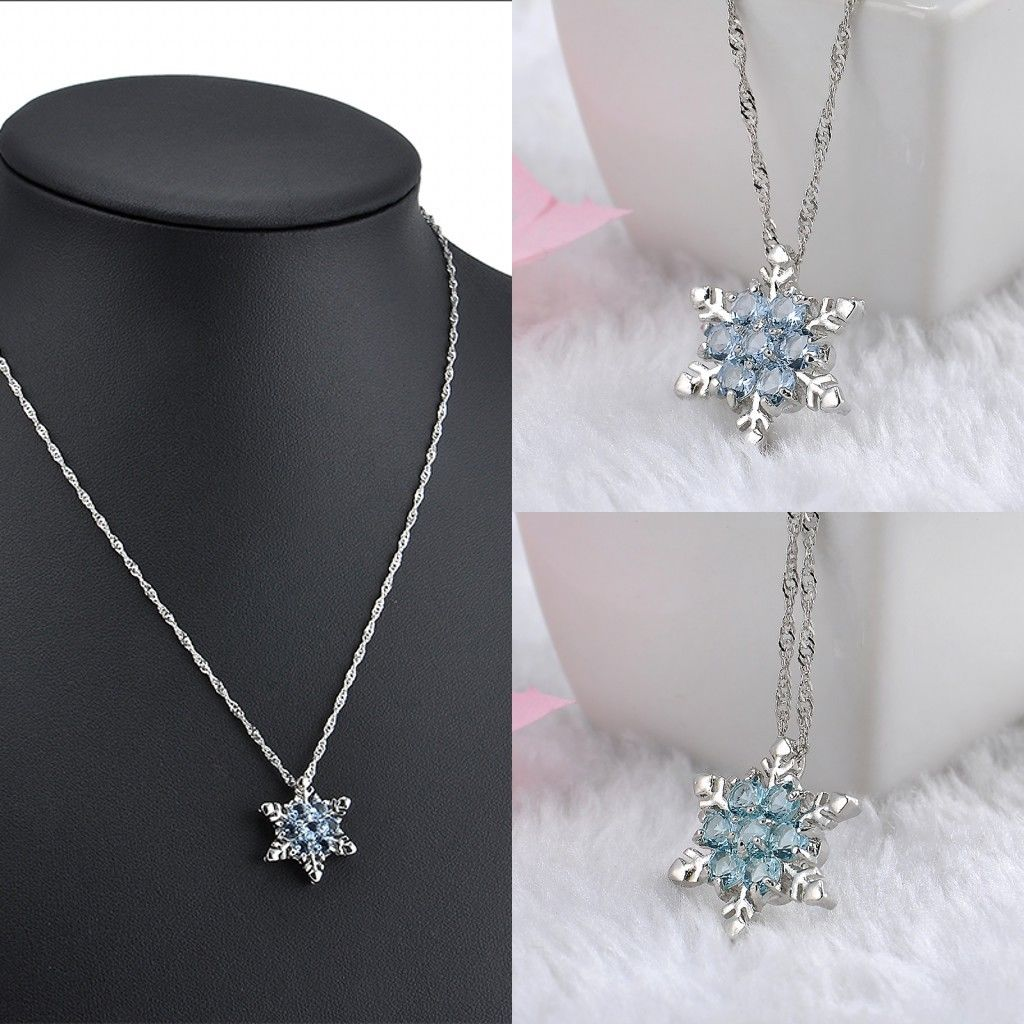 Vintage Luxury Clear Blue Crystal Snowflake Pendant Necklace Charm Women Silver Plated Flower Statement Collar Necklace Jewelry