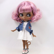 ICY Neo Blythe Doll Purple Browm Hair Jointed Body 30cm