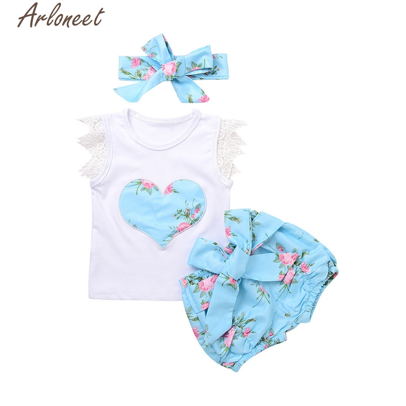 Infant Toddler Baby Girl Lace Top T-shirt+Floral Shorts Pants Outfit Clothes Set