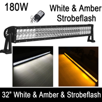 Dual Color Switched White/Amber/Strobe 32inch 180W Straight Led Work Light Bar Warning Spot Flood Combo for offroad ATV SUV 4X4