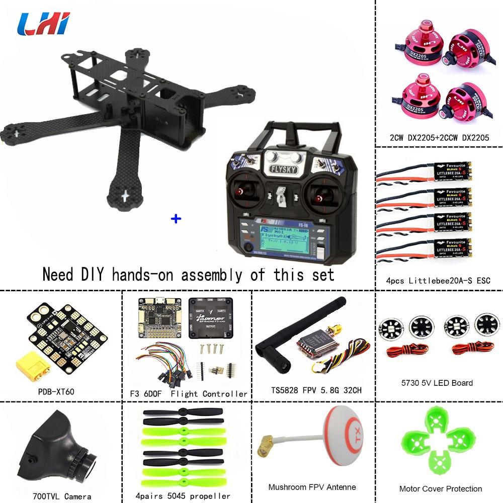 Quadros de LHI RC zangão 220 Quadcopter Kit Quadro de Carbono Completo + DX2205 2300KV 20A Mini ESC Brushless Motor + Abelhinha + 5045 hélices