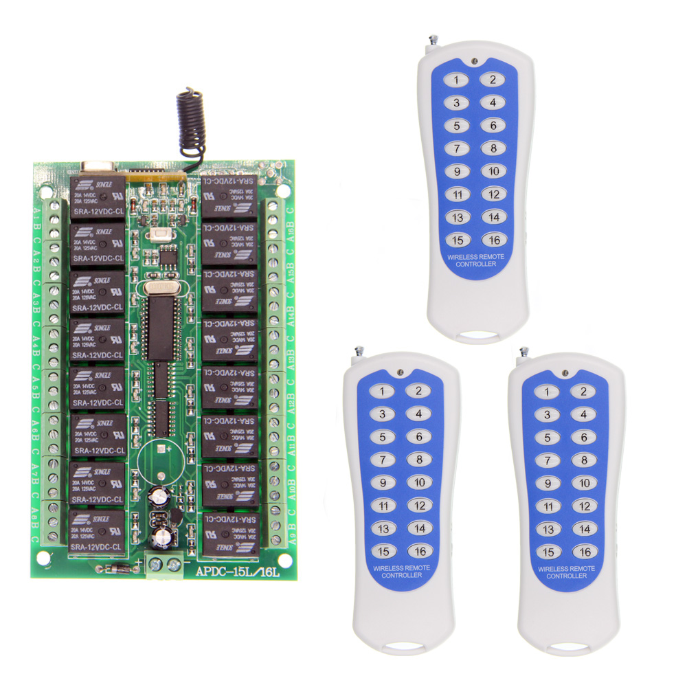 DC 12V 24V 16 CH 16CH RF Wireless Remote Control Switch System,3 X Transmitter + Receiver,Toggle Momentary,315/433.92 MHZ new ac 220v 30a relay 1 ch rf wireless remote control switch system toggle momentary latched 315 433mhz