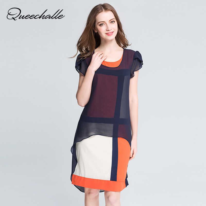 ac34e45e23c Европейский стиль летнее платье О-образным вырезом Бабочка рукавом  Свободные Большие размеры шифоновое платье L