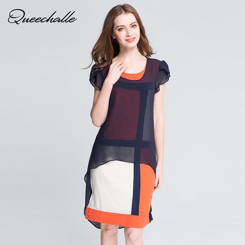 Queechalle Summer Dress O-neck butterfly sleeve loose big size chiffon dress L XL XXL XXXL 4XL 5XL Plus size women clothing