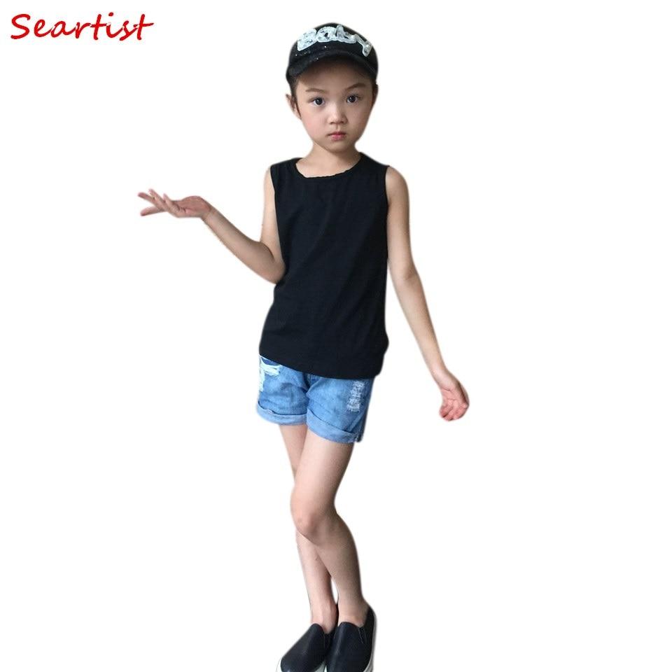 Seartist 2018 New Rushed Unisex Kids T-shirt Sleeveless Cotton Black Gray T Shirt Tee Bebes Children Baby Boys Girls Clothes 35C