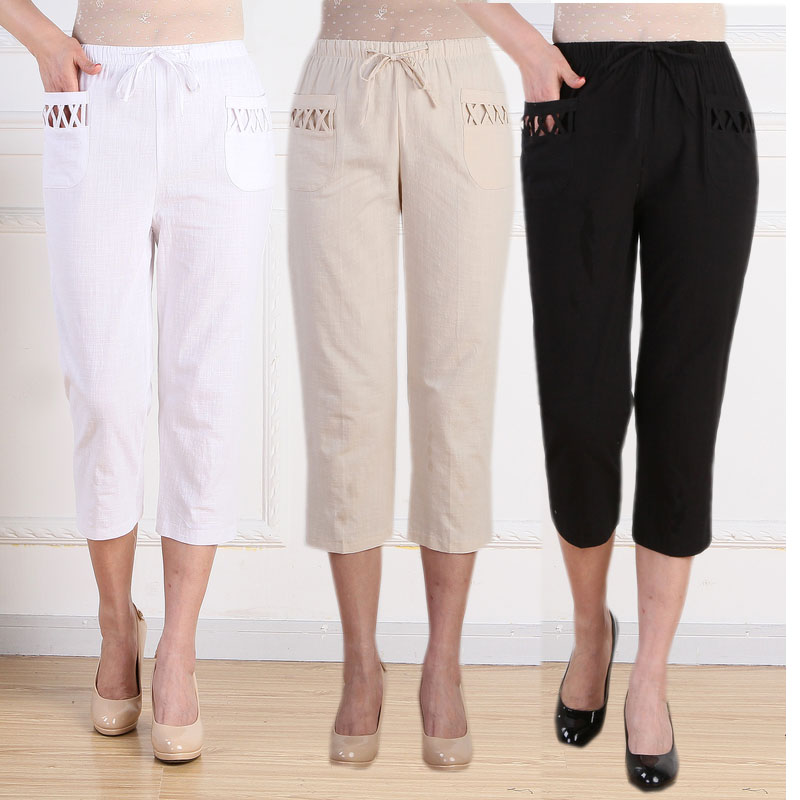 Middle-age Summer Thin   Pants     Capris   Quinquagenarian Fluid Casual   Pant   Elastic Waist Loose Plus Size Cotton Linen 7   Capris     Pants