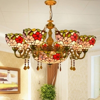 European style retro bar 68 heads Living room dining room bedroom Crystal Chandelier Stained glass Pendant lamps Red festive