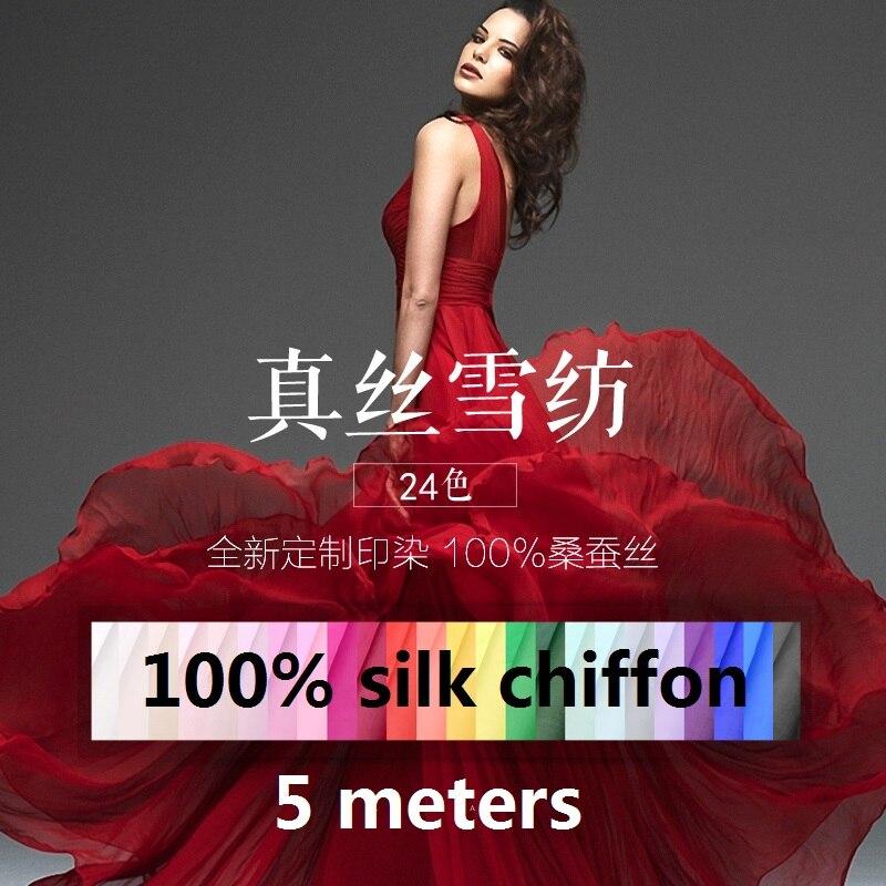 Pure color 100% mulberry silk yarn, summer silk chiffon fabric, dress, silk scarf, silk clothing, custom cloth