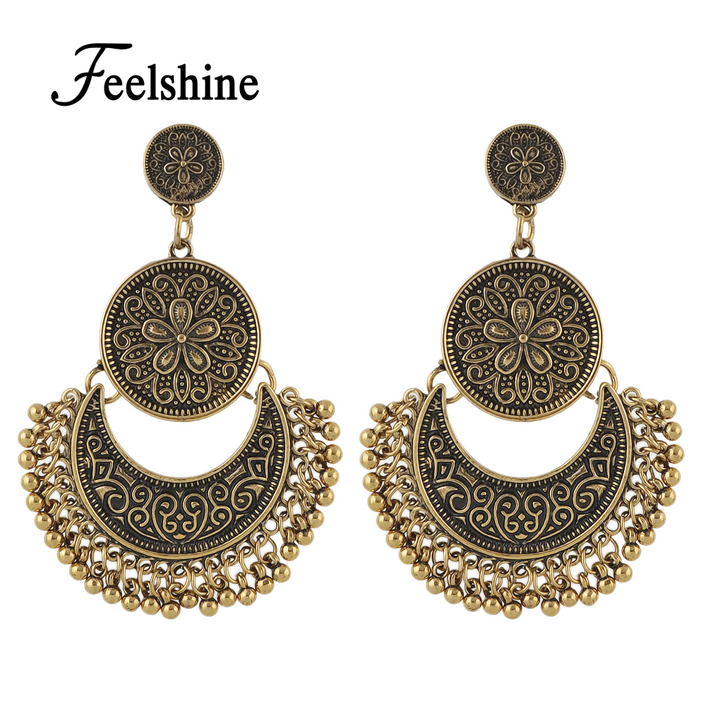 Retro Style Ethnic Chandelier Earrings Antique Gold Silver Color Geometric Statement Earrings