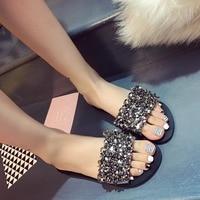 AVVVXBW 2017 Summer Women's Flats Slippers Diamond Flats Flip Flops Casual Beach Shoes Woman Slide Crystal Sandalias Femininas