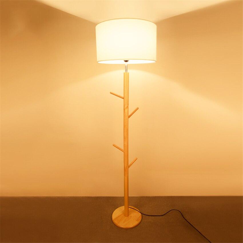 Wooden LED Floor Lamp Modern Living Room Bedroom Study lights Standing Lamps White Fabric wooden floor Decor