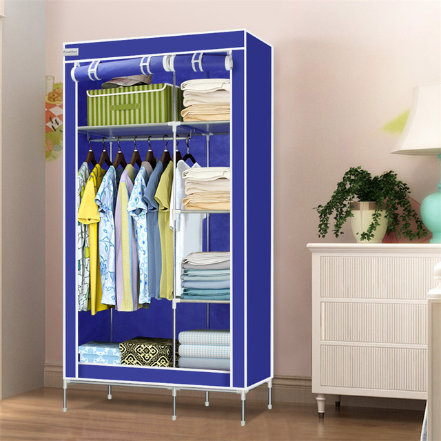 Finether High Quality Double Modular Metal Framed Fabric Wardrobe,Clothes  Shelves Organiser Hanging Rail Cupboard