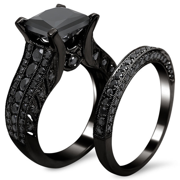all prong princess cut black zircon bridal set black gold filled solid ring 2015 top - All Black Wedding Rings