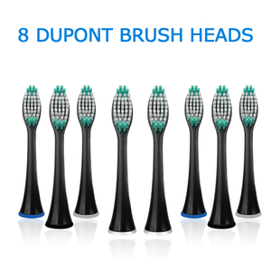 Image 4 - Electric Toothbrush USB Inductive Charging Sonic Toothbrush Adults Electric Sonic toothbrush Black 8 Brush Heads & Travel Case