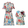 2017 NEW Fashion children clothing girls dresses kids printing cute Doll sleeves for baby high quality