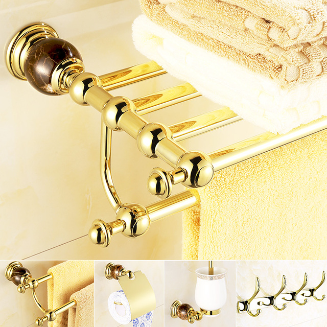 Europe Antique Gold Bathroom Accessories Set Bundle Coffee Stone Sowel Towel Rack Full Copper