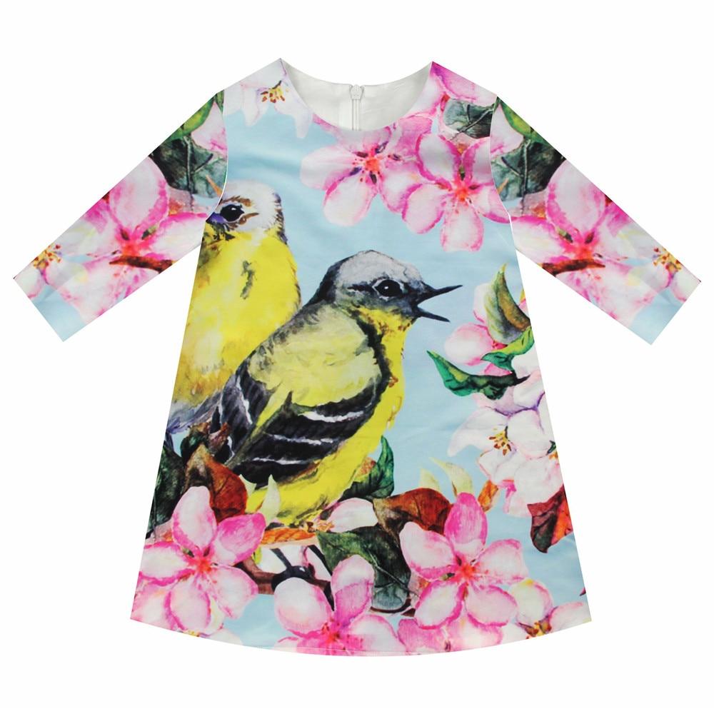 Girls Dresses Nice Birds Print Children Designer Baby Kids