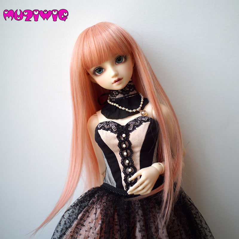 High-temperature Fiber Synthetic Blended Pink Long Straight Hair Wig With Bangs for 1/3 1/4 1/6 1/8 BJD On Sale In MUZIWIG