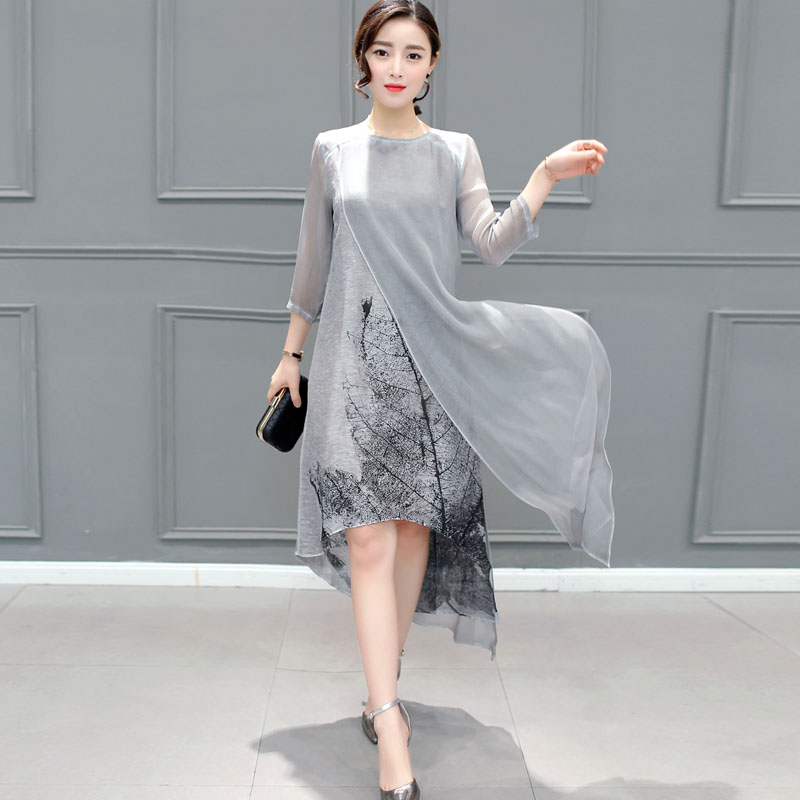 Fashion High Quality 2018 New Spring Women Dress Printed Retro Dress Chinese Style Loose Casual Plus