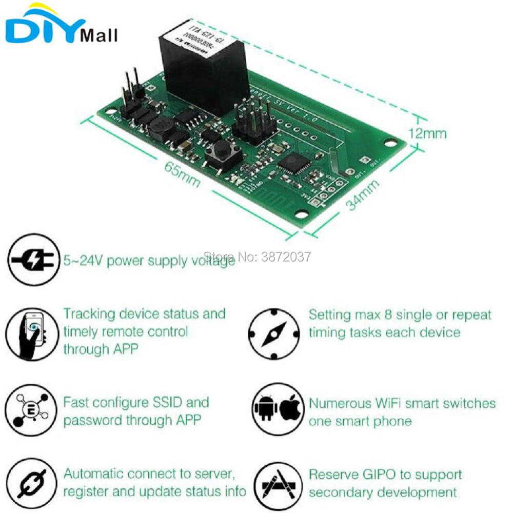 Sonoff SV Safe Voltage Wifi Wireless Switch Smart Home Automation Module DC 5-24V Support Secondary Development for IOS Android