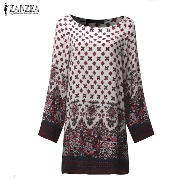 ZANZEA Women Dress 2018 Ladies Sexy Mini Vintage Print Dress O Neck Long Sleeve Floral Casual Ethnic Short Veatidos 3